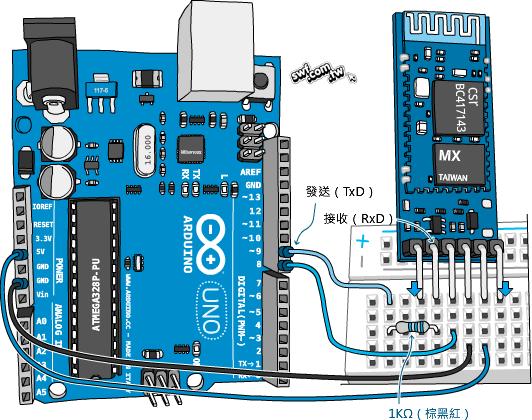 藍牙模組與arduino板的面包板接線范例